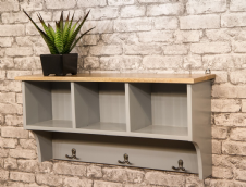MANT-045 SHELF WITH STORAGE AND HOOKS - GREY